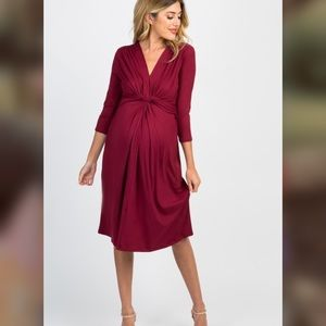 Pinkblush Burgundy Twist Front Maternity Dress